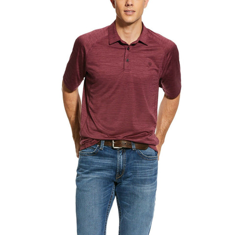 Ariat® Men's Charger Maroon Short Sleeve Jersey Polo Shirt 10030943