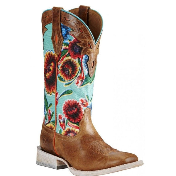 Ariat® Ladies Circuit Champion Floral Brown & Turquoise Boots 10019943 - Wild West Boot Store