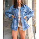 L&B Ladies Denim With Silver Metallic Rust Jacket DP5378-SIL