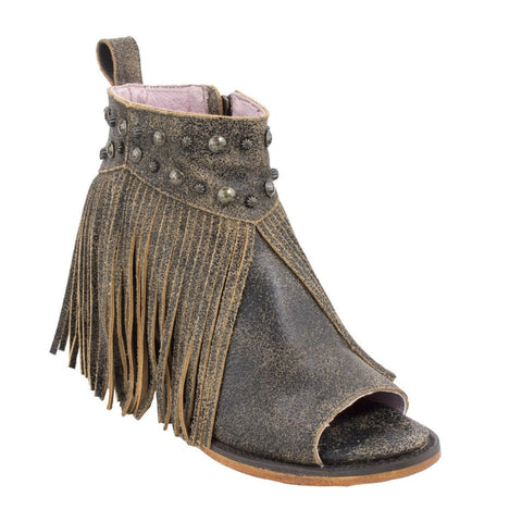 Junk Gypsy Ladies Lennon Crackle Brown Fringe Open Toe Booties JG0017A - Wild West Boot Store