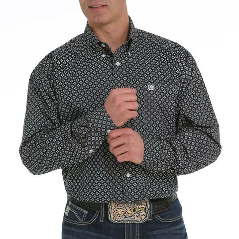 Cinch Men's Black and Gray Long Sleeve Button Down Shirt MTW1104953