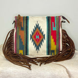 American Darling White Aztec Saddle Blanket Crossbody ADBG236D