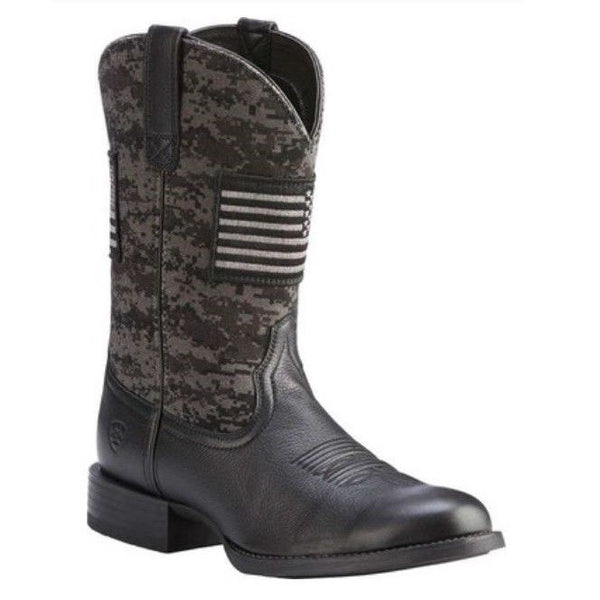 Ariat® Men's Black Sport Patriot Round Toe Boot 10023363 - Wild West Boot Store