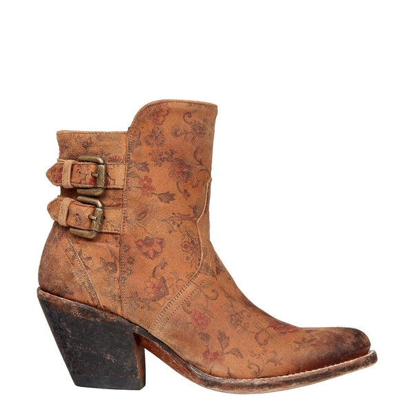 Lucchese Ladies Catalina Brown Floral Printed Shortie Boot M4953 - Wild West Boot Store - 3