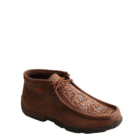 Twisted X Ladies Brown & Tooled Flowers Driving Mocs WDM0081