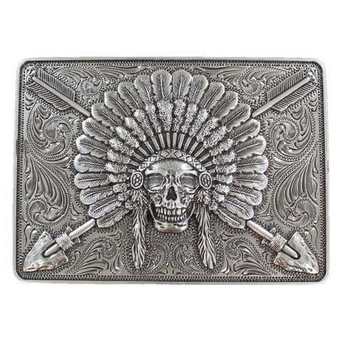 Ariat Indian Chief Skull Rectangle Silver Belt Buckle A37009