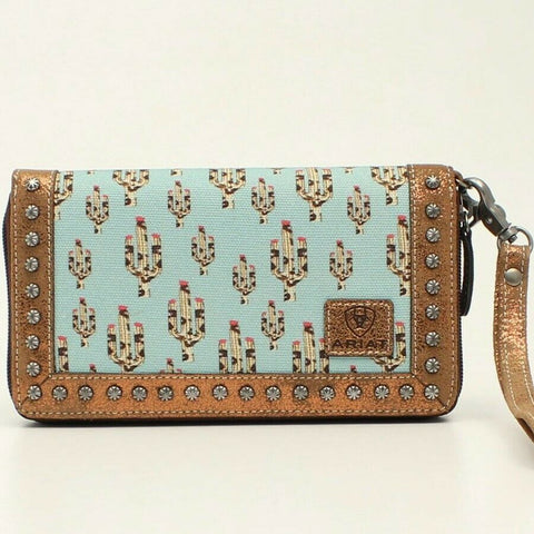 Ariat Ladies Turquoise Cactus Print Studded Metallic Leather Clutch A770000133
