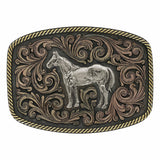 Montana Silversmiths Tri-Colored Standing Horse Attitude Buckle A705T