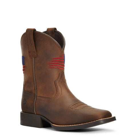 Ariat Children's Distressed Brown Patriot II Cowboy Boots 10034408