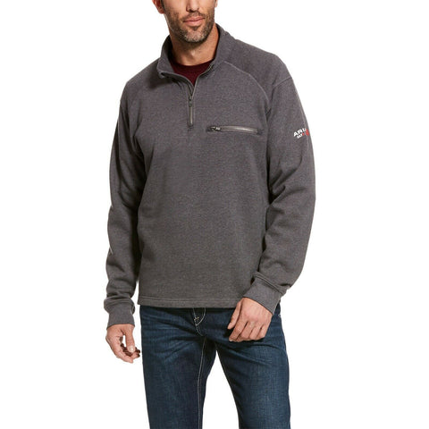 Ariat® Men's FR Rev 1/4 Zip Top Grey Pullover Sweatshirt 10027924