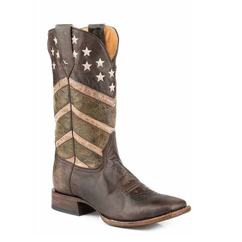 Roper Men's Burnished Army Fatique Brown Flag Boots 09-020-7001-0150 - Wild West Boot Store