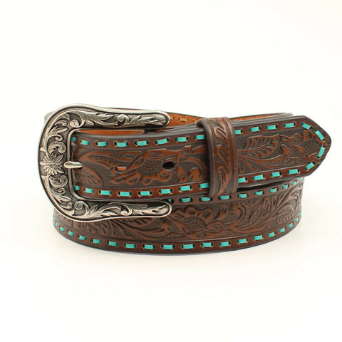 Nocona Ladies Floral Embossed Brown Belt N320000402