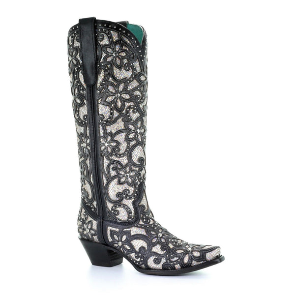 Corral Ladies Black Full Inlay and Stud Boot A3590 - Wild West Boot Store
