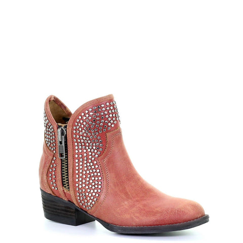 Circle G By Corral Ladies Orange-Red Studded Shortie Ankle Boots Q0125