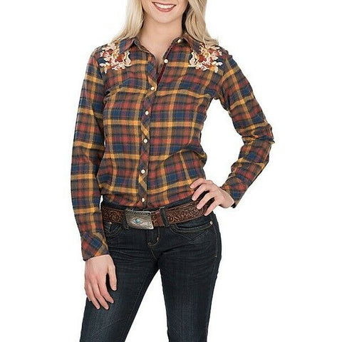 Grace in L.A. Mustard Plaid Floral Embroidery Flannel Shirt S-2180