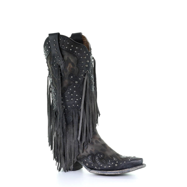 Corral Ladies Grey Goat Overlay Studs & Fringe Western Boots A3619 - Wild West Boot Store
