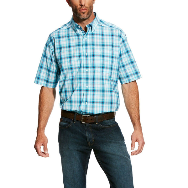 Ariat® Men's Faulker Pro Blue Plaid Short Sleeve Button Shirt 10025894