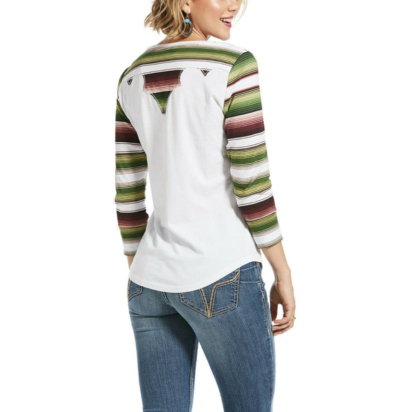 Ariat® Ladies White & Stripe Sombrero 3/4 Sleeve T-Shirt 10032816