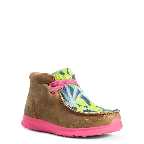 Ariat® Girl's Spitfire Brown Bomber Pink Mint Cactus Shoes 10029765
