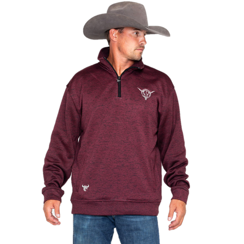 Cowboy Hardware Men's Barbed Skull Fleece Burgundy Pullover 173132-120