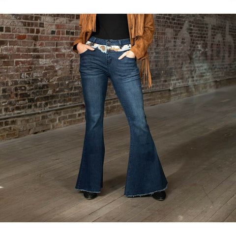 L&B Ladies Duo Cowhide Dark Wash Bell Bottom Jeans DP5321-COW