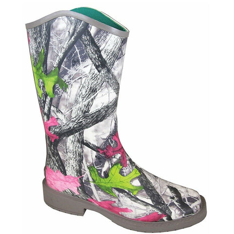 Smoky Mountain Ladies Gray Camo Square Toe Rubber Boots 6731
