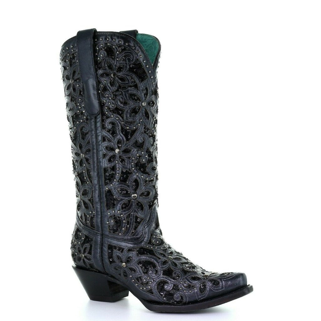 ad2f6843788 Corral Ladies Black Inlay Embroidery & Studs Boots A3752