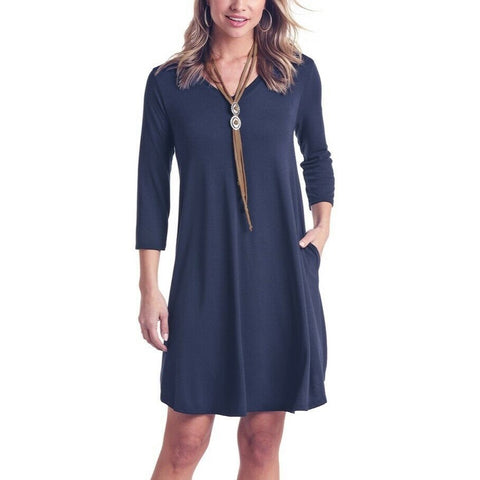 Panhandle Ladies Navy 3/4 Sleeve V-Neck Dress L9D6459-42
