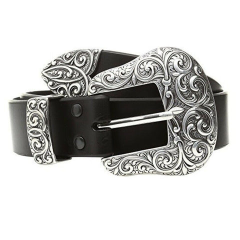 Ariat Ladies Black Leather with Silver Buckle Belt A1523201