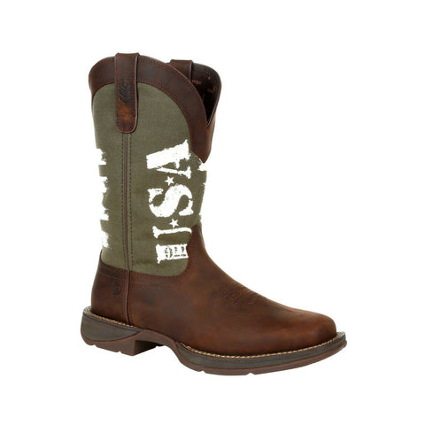Durango Men's Rebel Army Green USA Print Square Toe Boot DDB0313