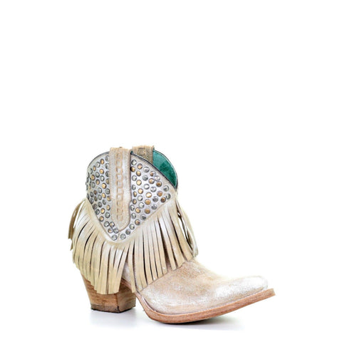 Corral Ladies White Studs & Fringe Shortie Ankle Boots E1419