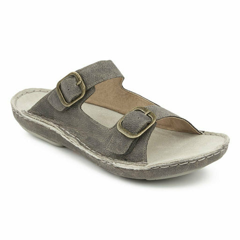 Tamarindo® Men's Discovery Pebble Grey Leather Slide Sandals MTDS003
