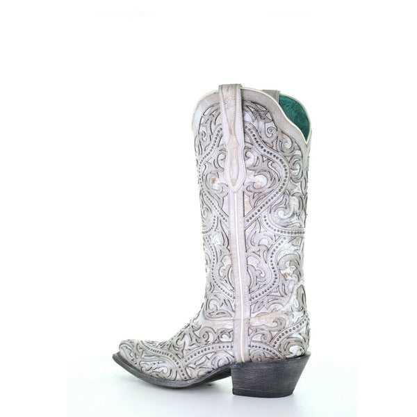 Corral Ladies White Full Inlay Boots G1514