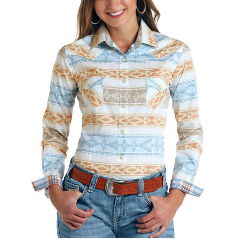 Panhandle Rough Stock Ladies Alta Aztec Print Stretch Shirt R4S5735