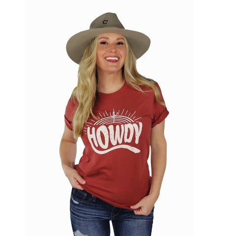 Ali-Dee Ladies Sunset Howdy Rust Tee