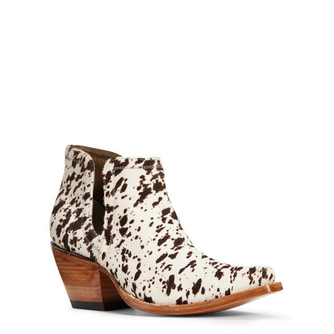 Ariat Ladies Dixon Brown & White Cowhide Ankle Bootie 10033882