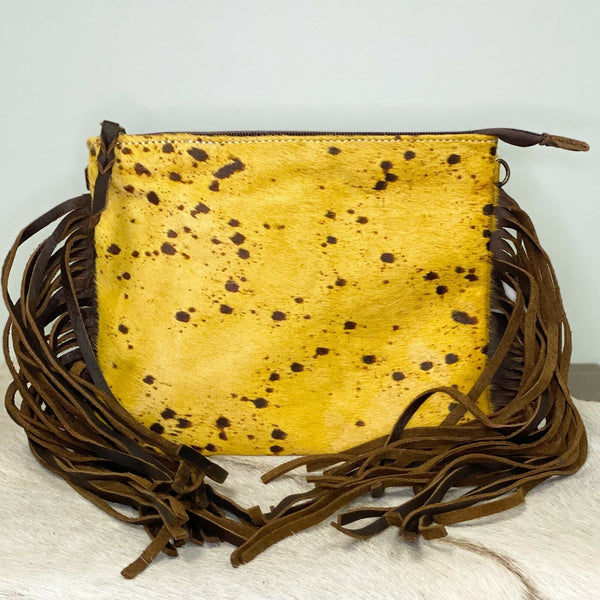 American Darling Yellow Cowhide & Brown Fringe Purse ADBG109YLAC2FG