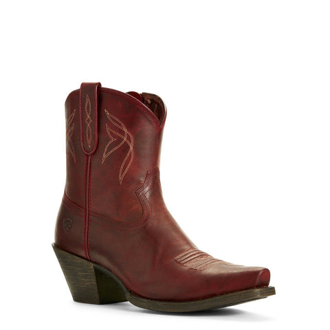 Ariat® Ladies Lovely Grenadine Red Zip-Up Shortie Boots 10027260 - Wild West Boot Store