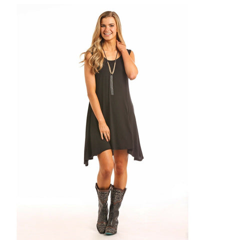 Panhandle Ladies Black Tank Top Knit Dress J0-5416