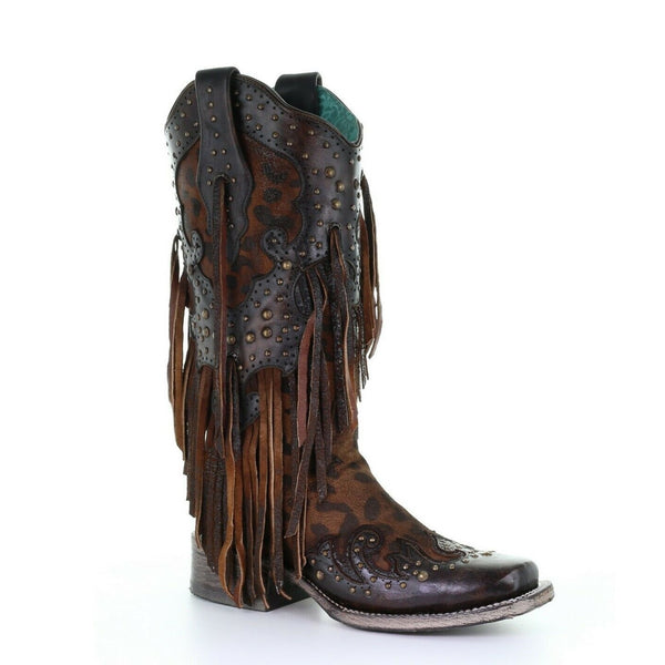 Corral Ladies Honey Overlay & Studs & Fringe Boots A3751