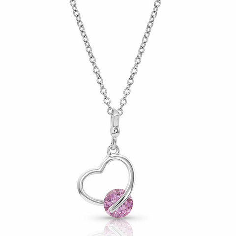 Montana Silversmiths A Drop Of Pink Heart Necklace NC4378