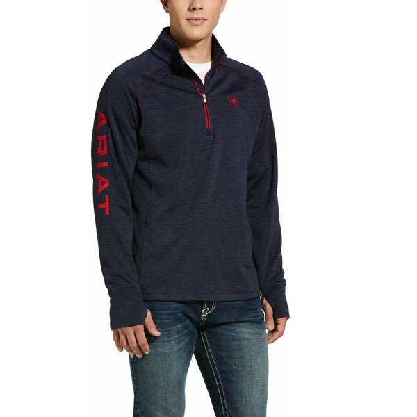 Ariat® Men's Navy Heather Team Logo 1/2 Zip Sweatshirt 10032804