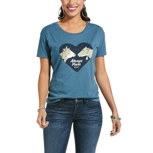 Ariat Ladies Always Yours Steel Blue Short Sleeve T-Shirt 10033424