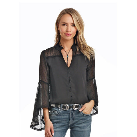 Panhandle Ladies Black Flare Sleeve Blouse 23B3743
