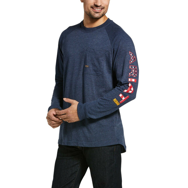 Ariat® Men's Rebar Cotton Strong Navy Heather Graphic T-Shirt 10032968