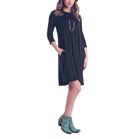 Panhandle Ladies Black 3/4 Sleeve Knit Dress J9D6803-01