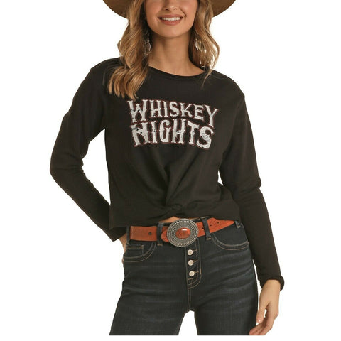Rock & Roll Cowgirl Black Graphic Long Sleeve Shirt 48T6273
