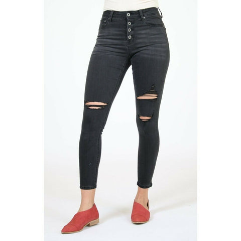 Grace in L.A. Ladies Button Fly Easy-Rise Black Skinny Jeans HNW-9366