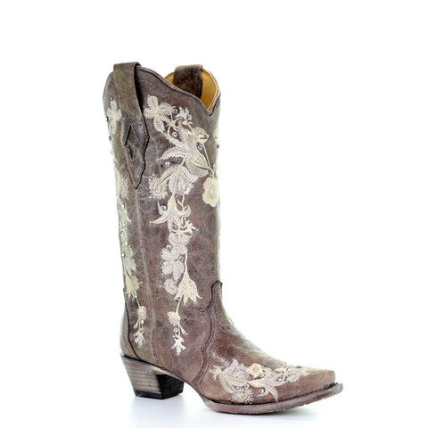 Corral Ladies Tobacco Studs & Floral Embroidery & Crystals Boots A3572 - Wild West Boot Store