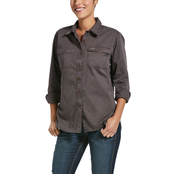 Ariat® Ladies Rebar™ Washed Twill Greyi Button-Up Work Shirt 10032884